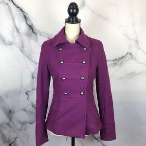 H&M purple wool pea coat